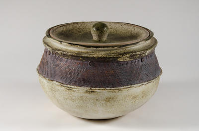 Large lidded storage pot