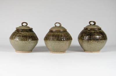 Set of three lidded jars